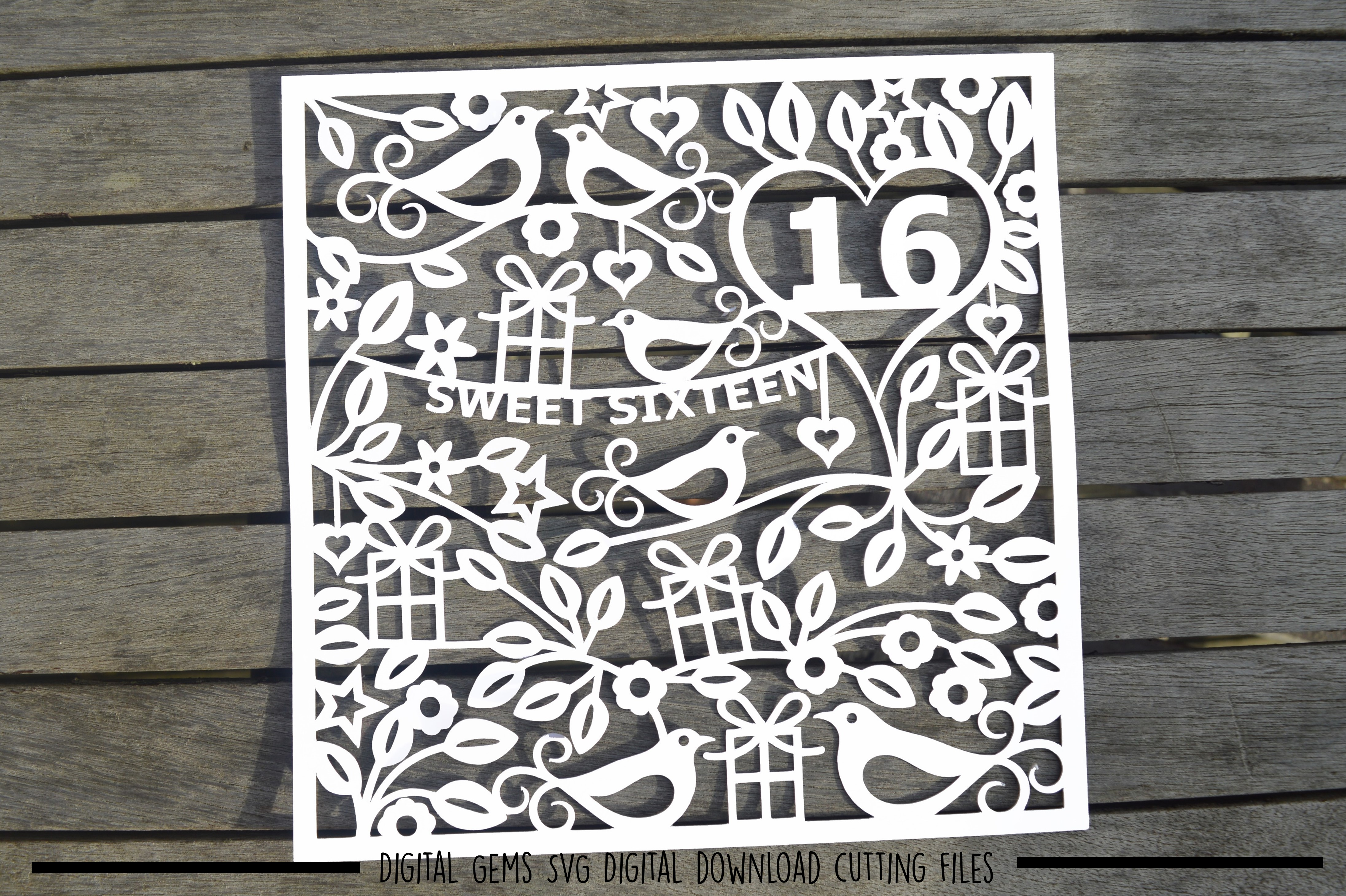 Number 16 paper cut SVG / DXF / EPS files example image 2