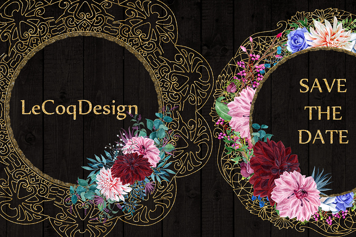 Gold Lace frames clipart example image 2