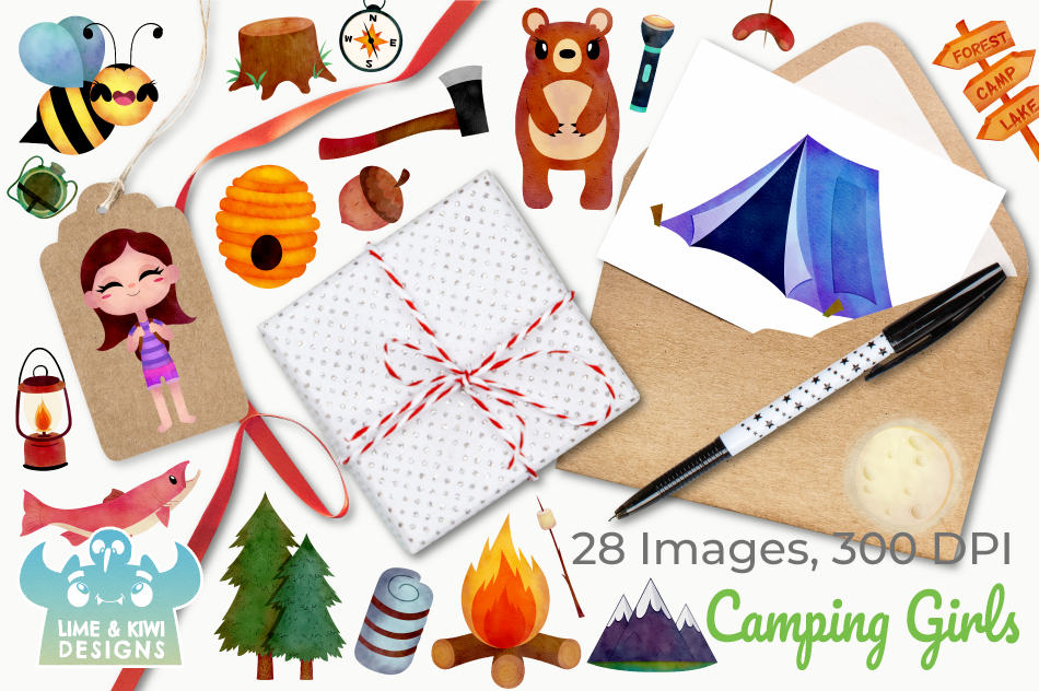 Camping Girls Watercolor Clipart, Instant Download example image 4