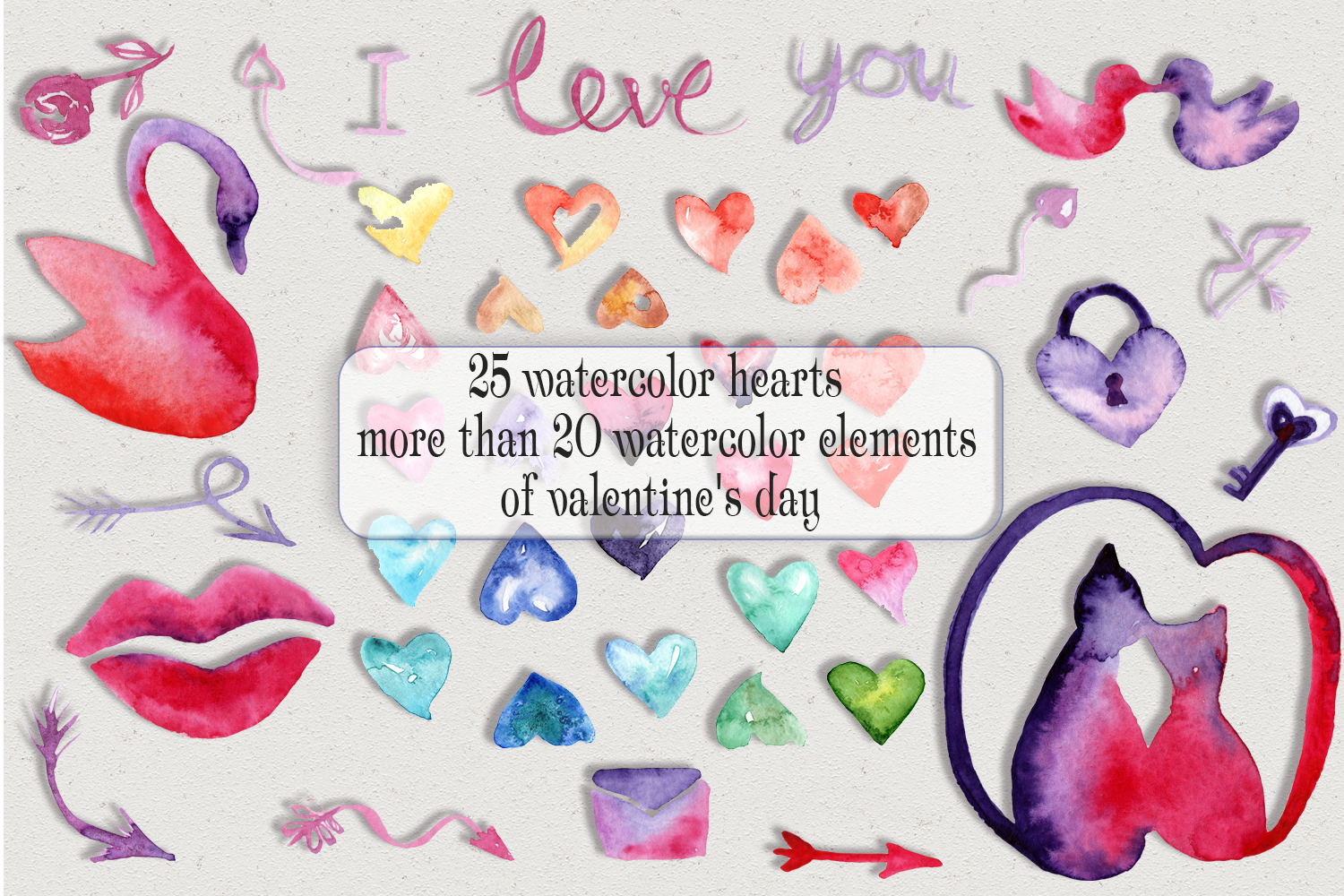 Watercolor Valentine's Day example image 7