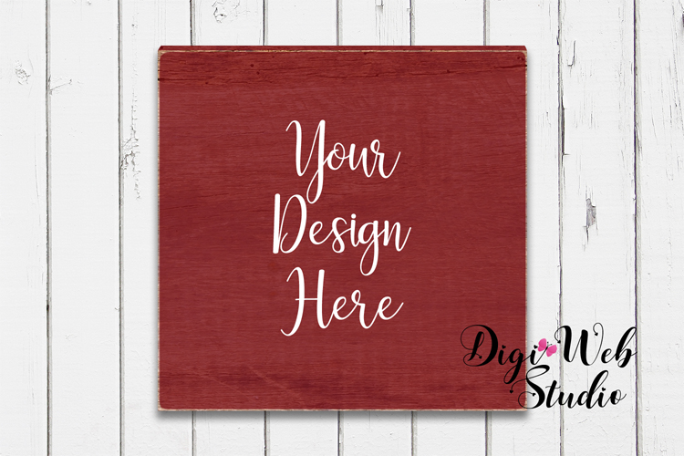 Wood Sign Mockup - Painted Farmhouse Red Wood Sign example image 1