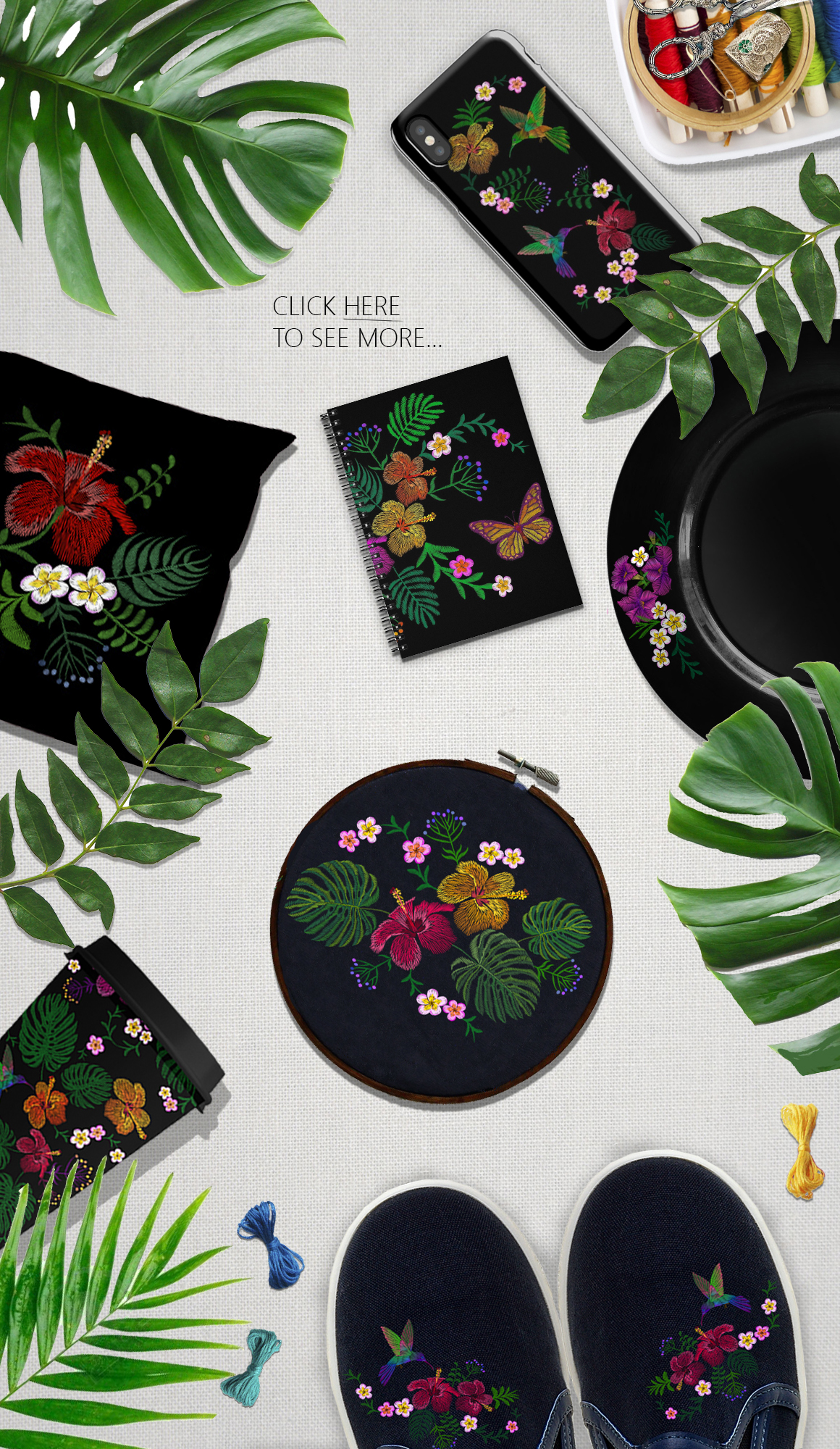 Exotic Holiday Vector Embroidery Print Set example image 3