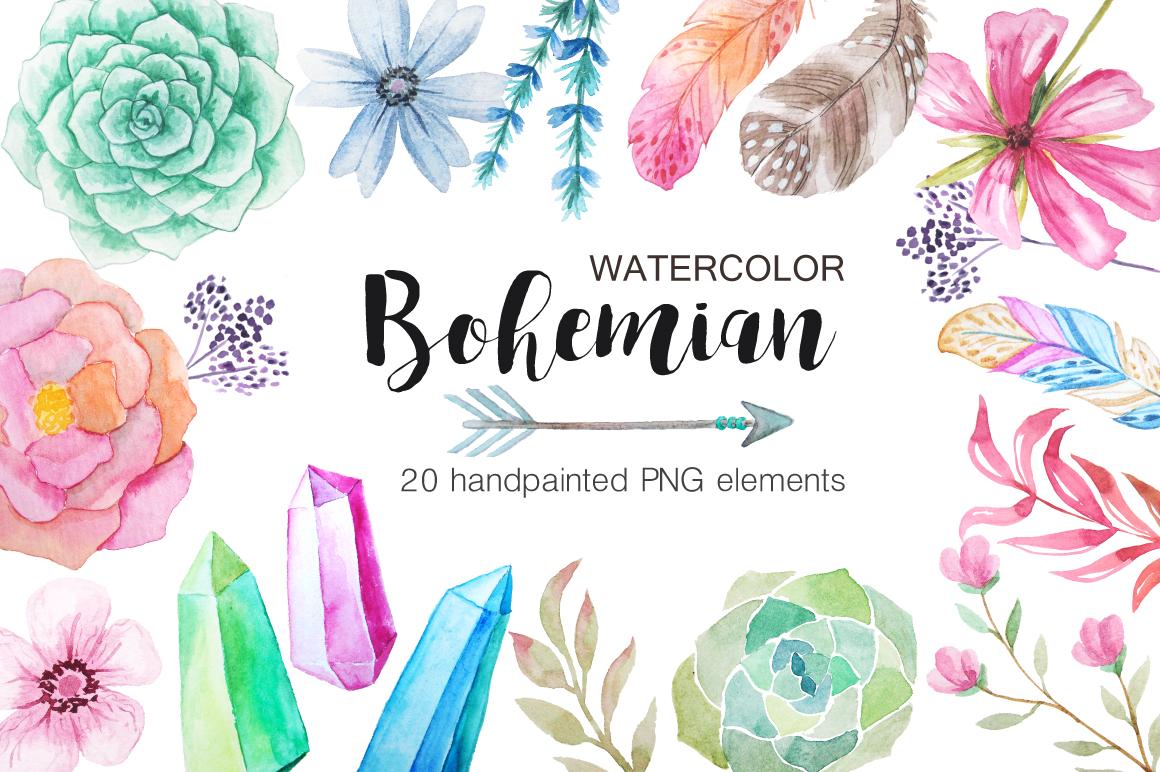 Watercolor Bohenian Nature Set example image 1