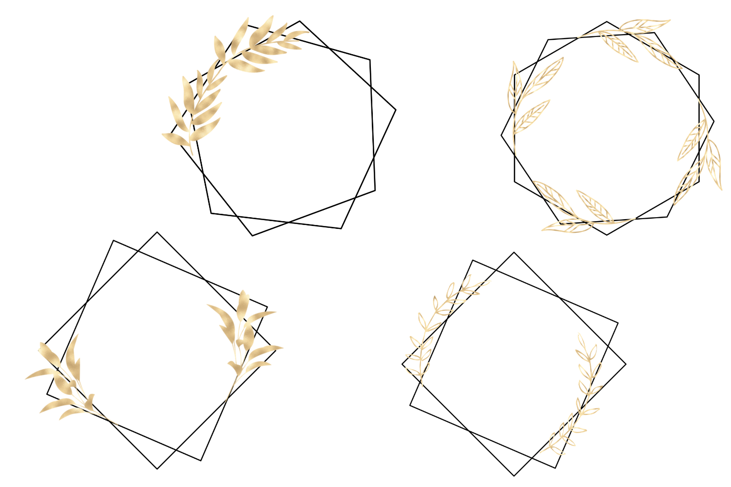 Minimal Geometric Frames, Gold Frames Cliparts example image 2