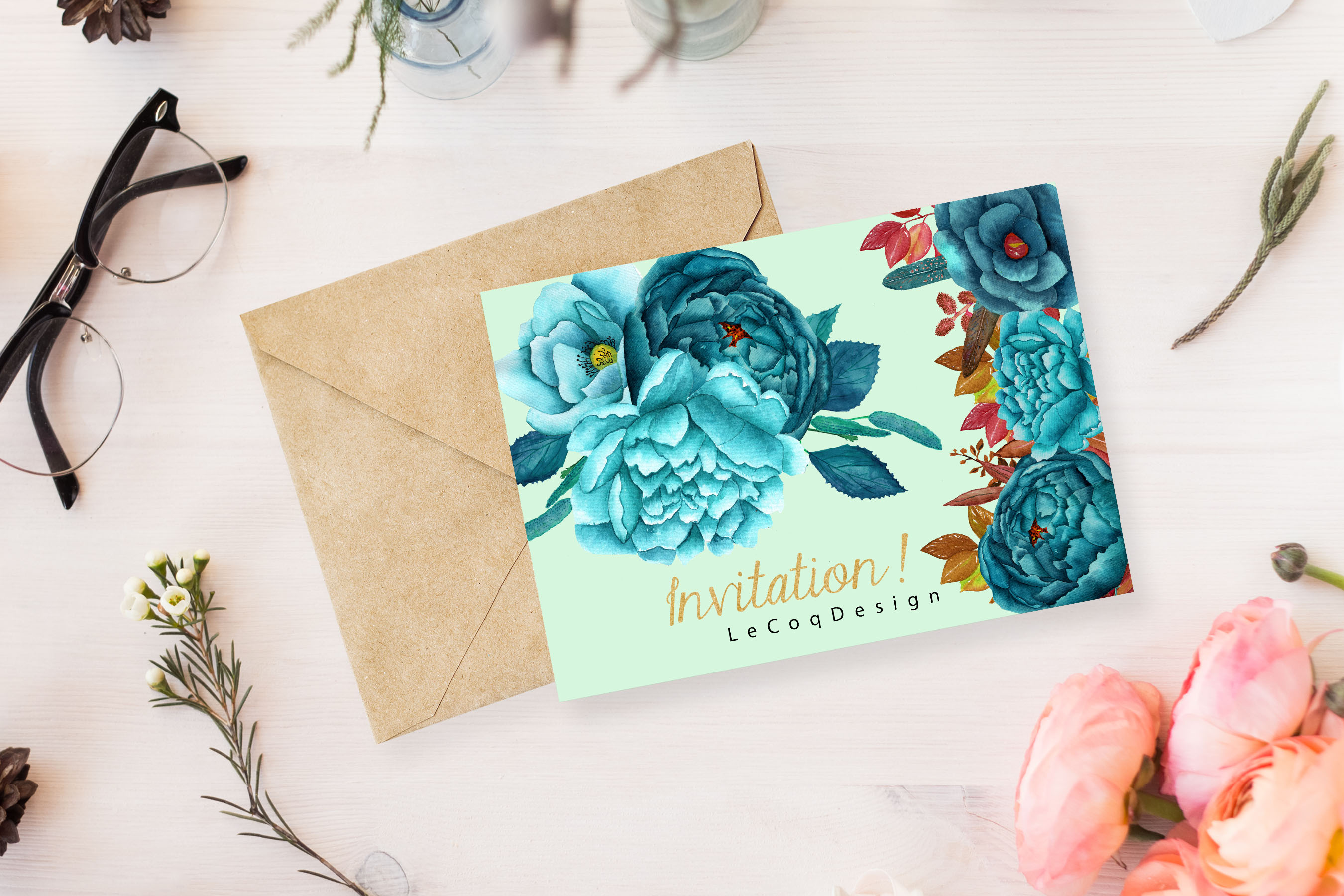 Watercolor teal flowers clipart example image 4