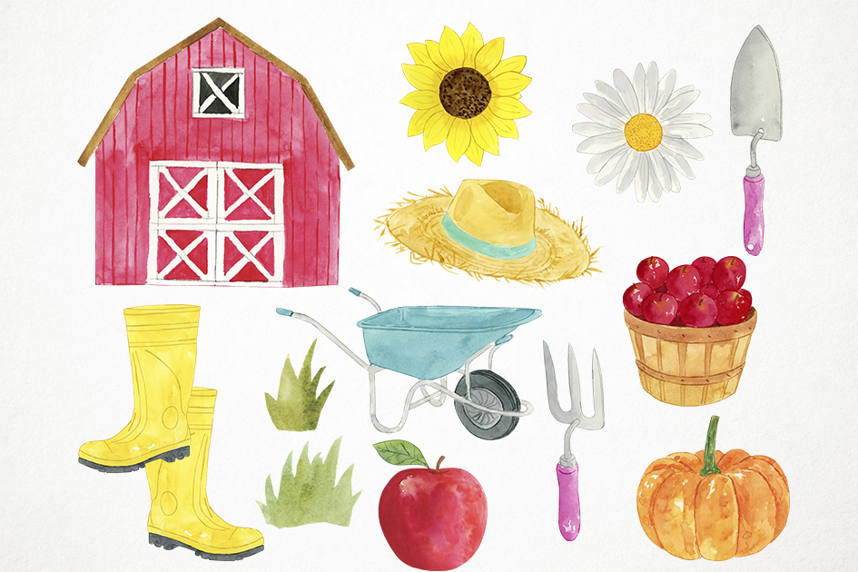 Watercolor Farm Animals Clipart, Farmyard Clipart, Animals example image 3