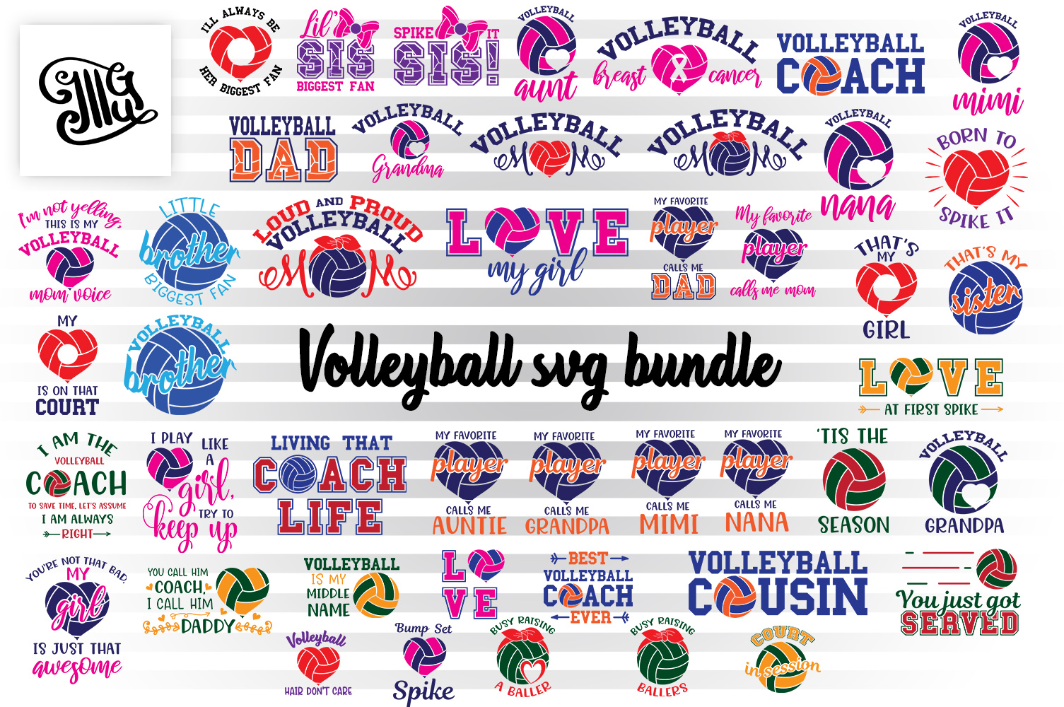 Volleyball svg bundle example image 1