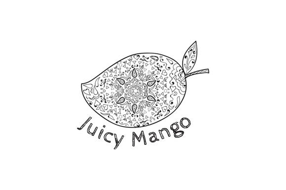 Juicy Mango Black and White Mandala example image 1