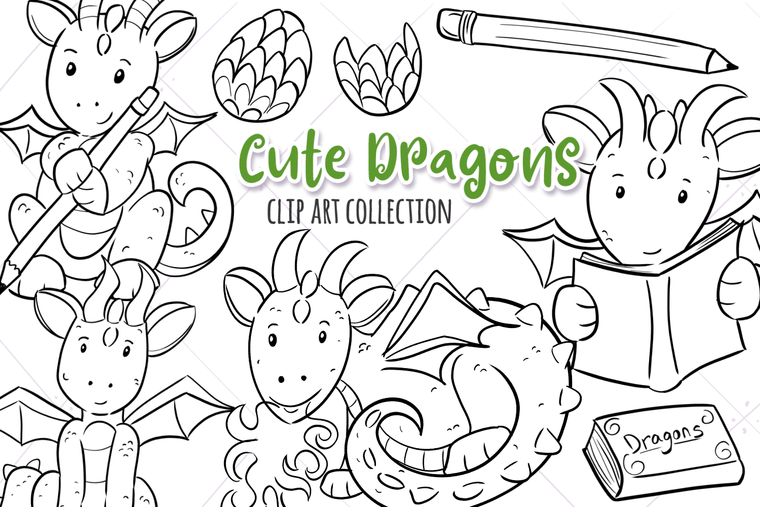 Cute Dragons Digital Stamps example image 1