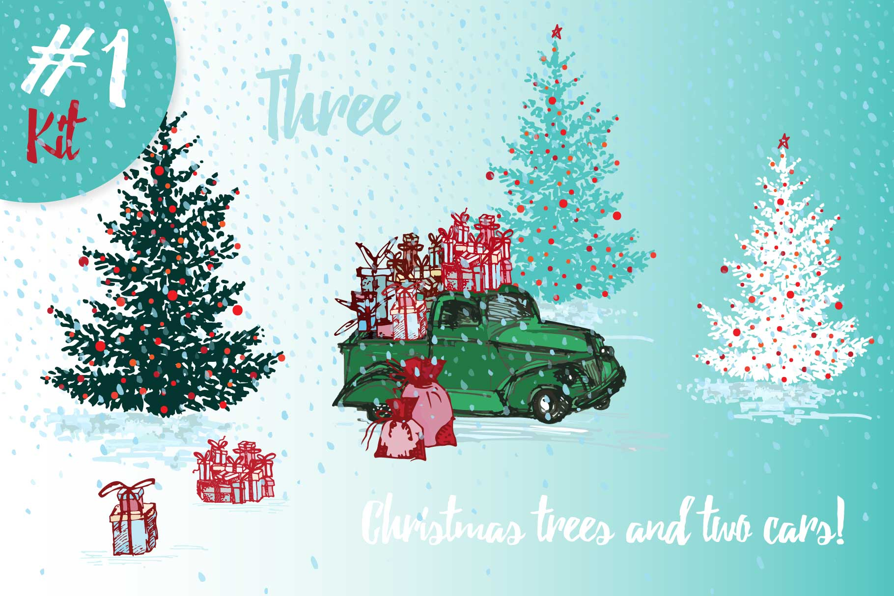 Hand drawn sketch Christmas tree and holiday cars example image 1