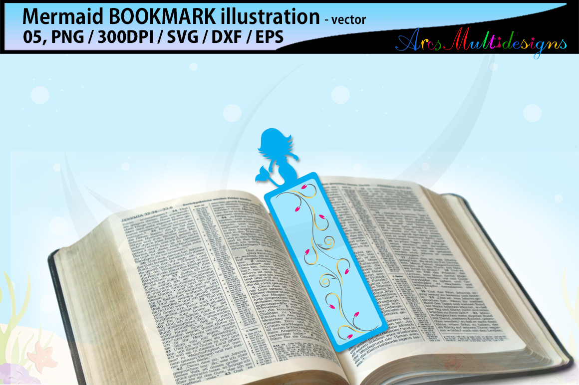 Mermaid bookmark clipart illustration / water girls bookmark / mermaid vector bookmark / mermaid / EPS / PNG / SVG / DXf example image 2