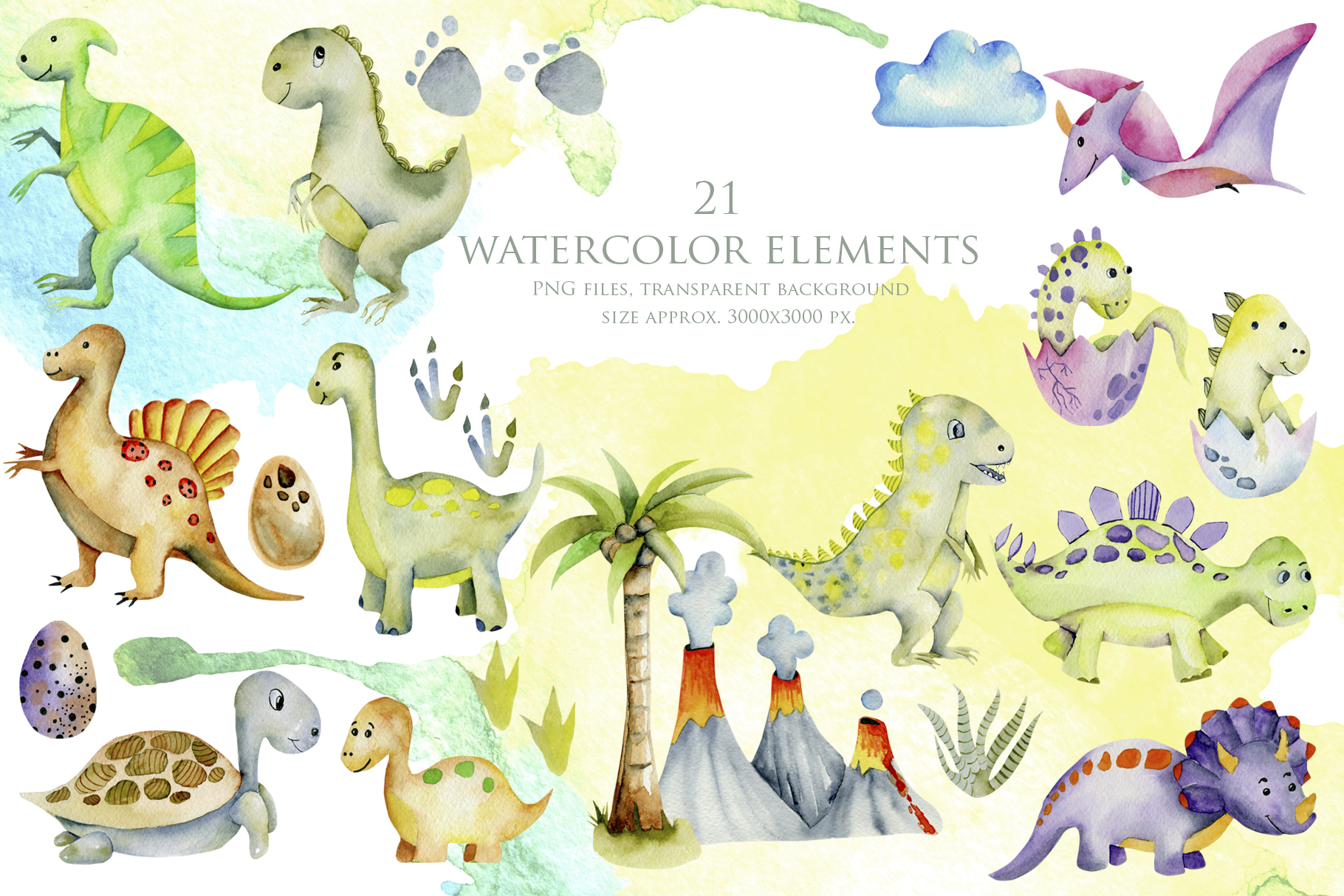 Mr.Dino. Watercolor clipart for kids example image 2