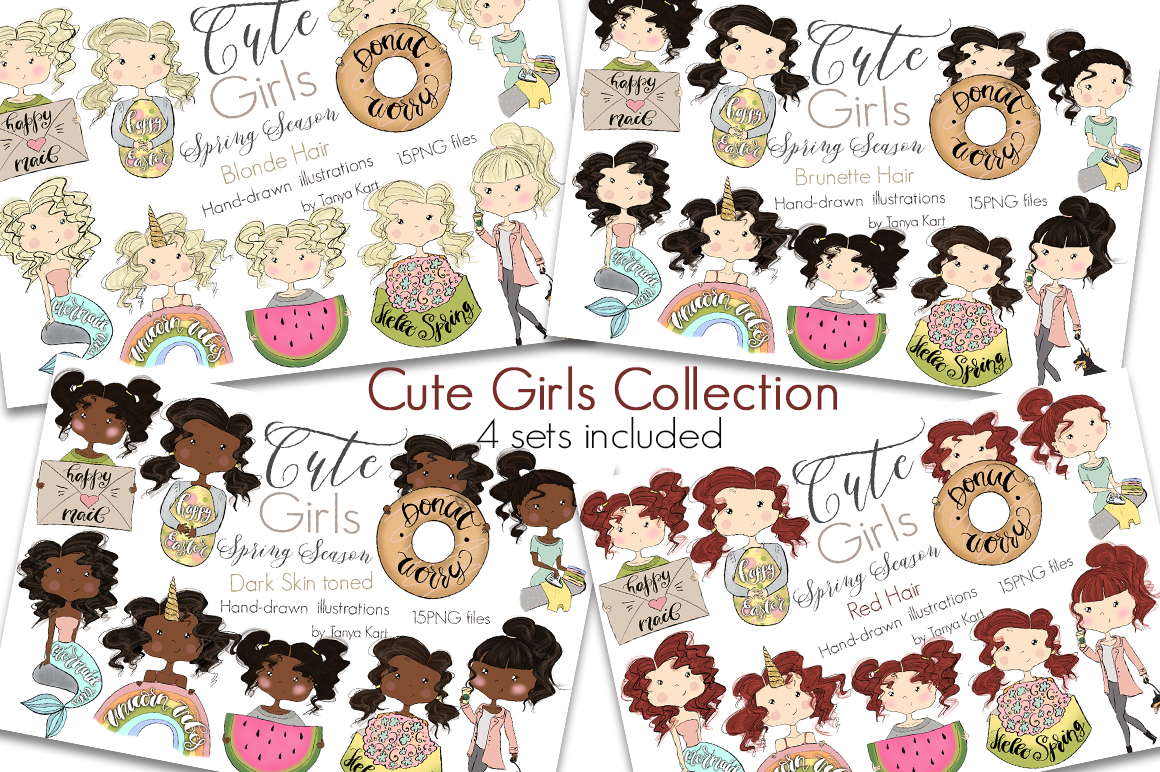 Cute Planners Girls Spring Collections Bundle example image 1