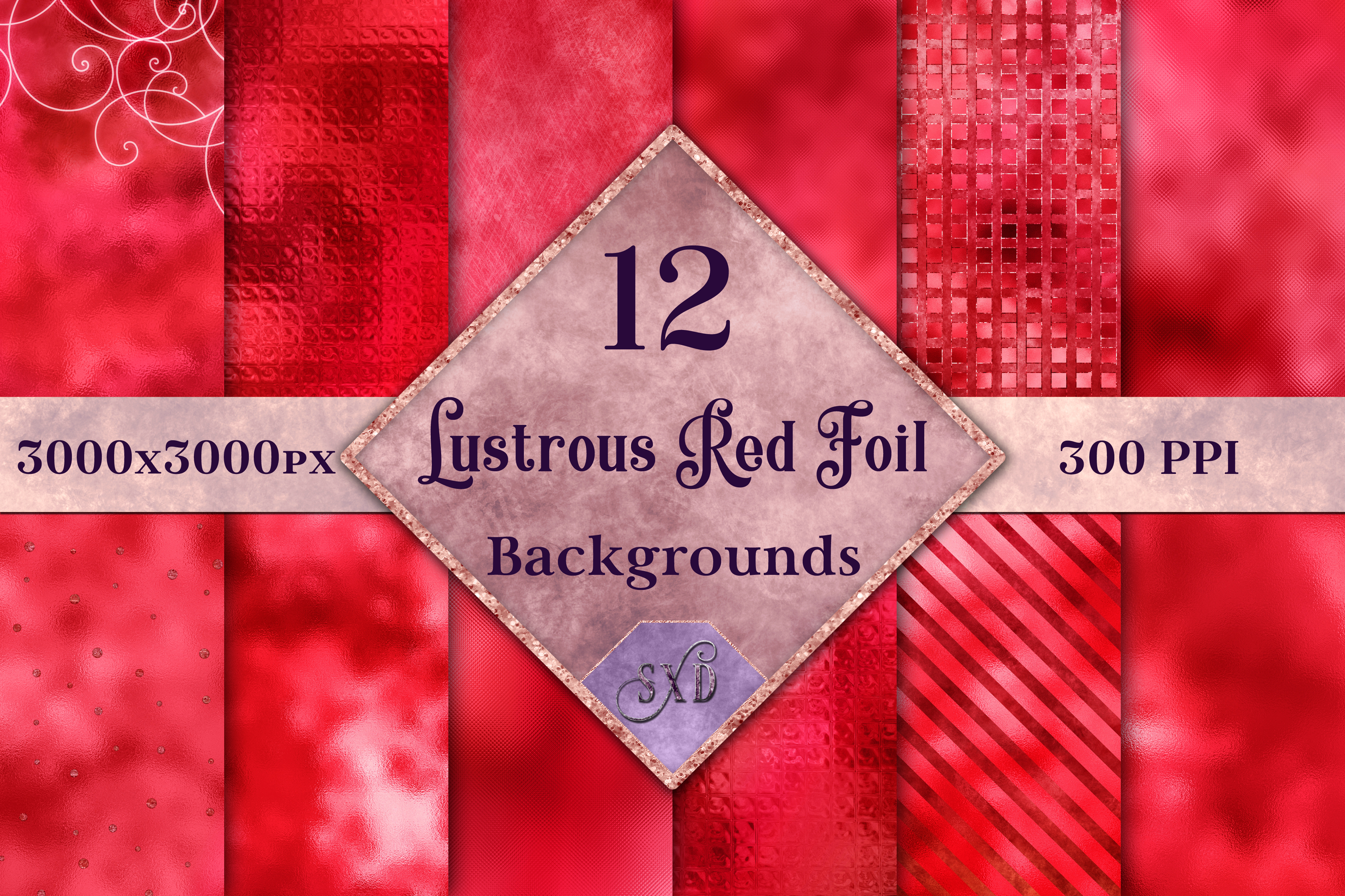 Lustrous Red Foil Backgrounds - 12 Image Textures Set example image 1