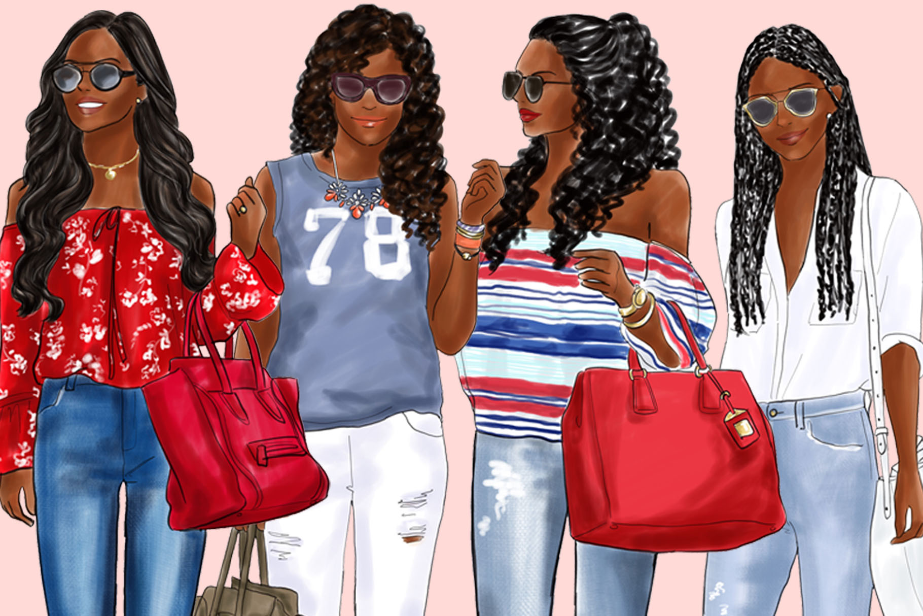 Fashion clipart - Girls in Ripped Jeans - Dark Skin example image 3