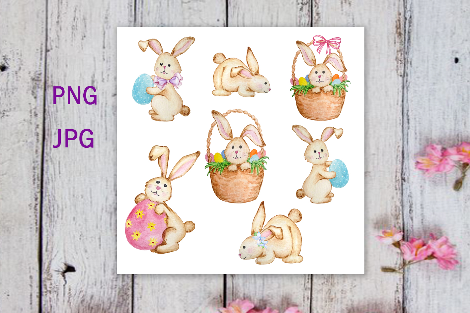 Watercolor Easter Cute Bunny Clipart Set example image 2