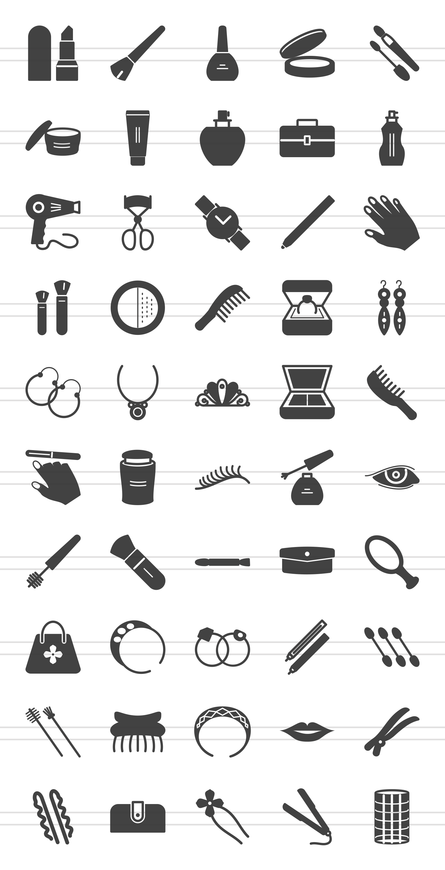 50 Makeup & Accessories Glyph Icons example image 2