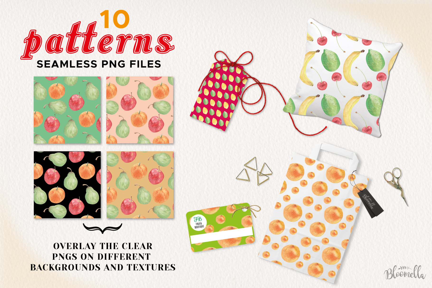 Fruit Seamless Patterns Digital Papers Watercolor Fun Apples example image 2
