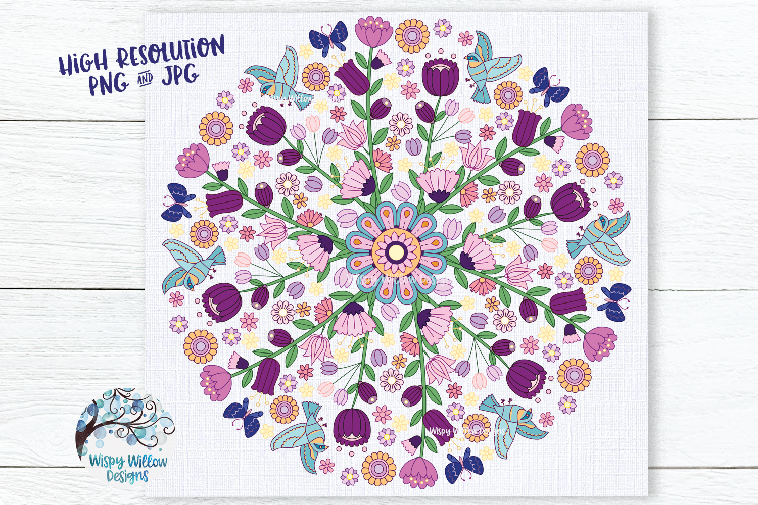 Floral Color Mandala   PNG and JPG   Sublimation example image 1