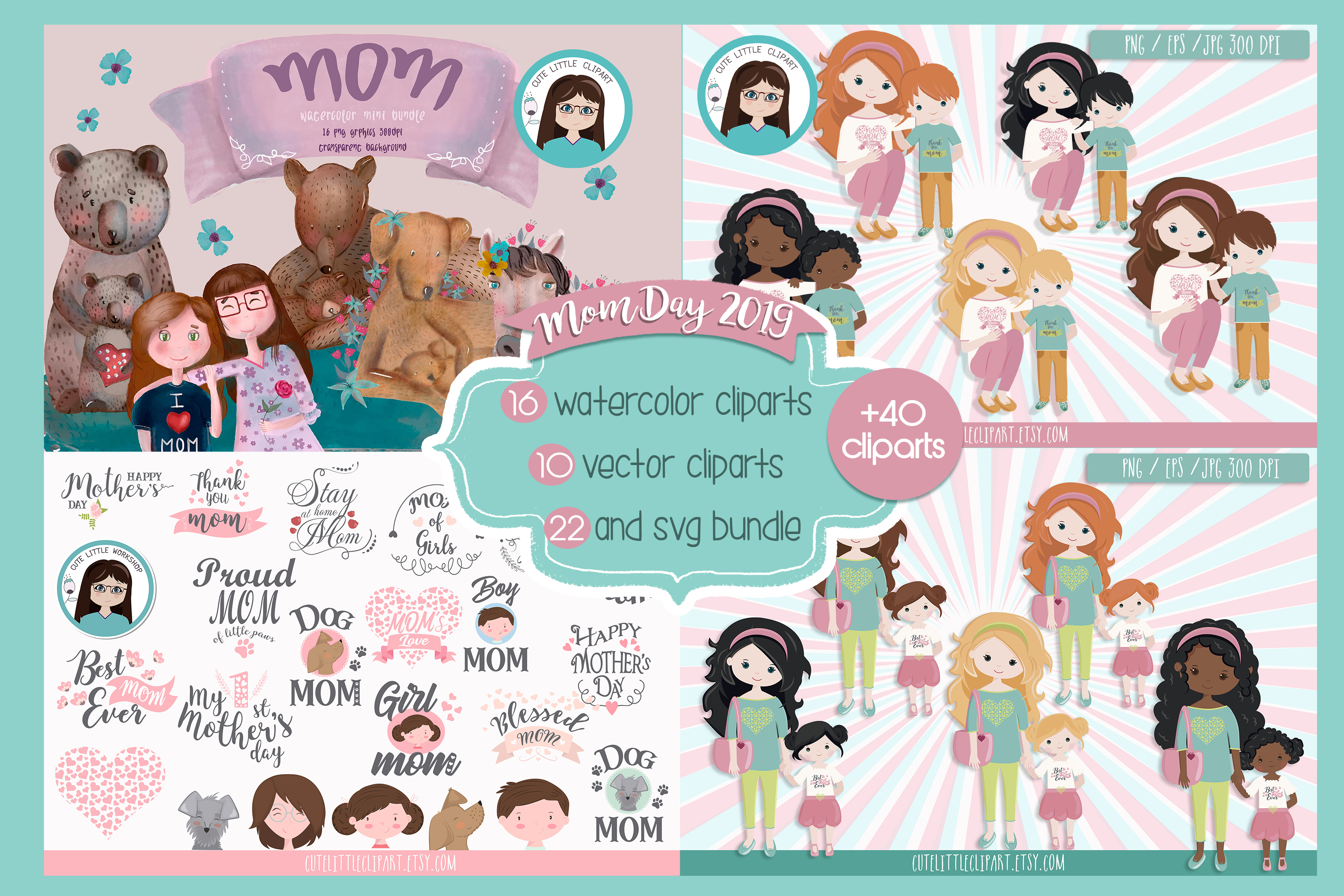 Mom day bundle clipart and svg example image 1
