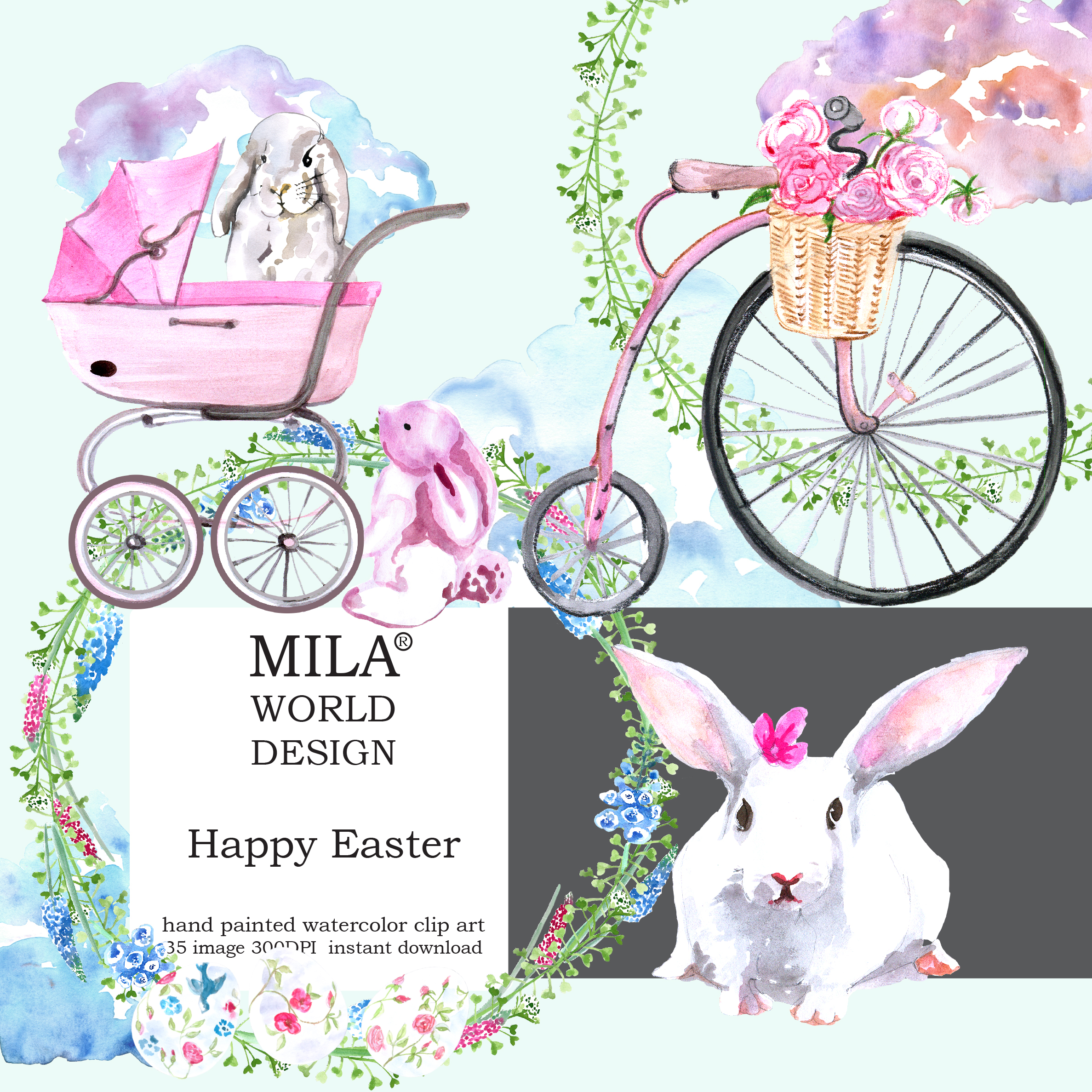 Watercolor Easter clipart example image 5
