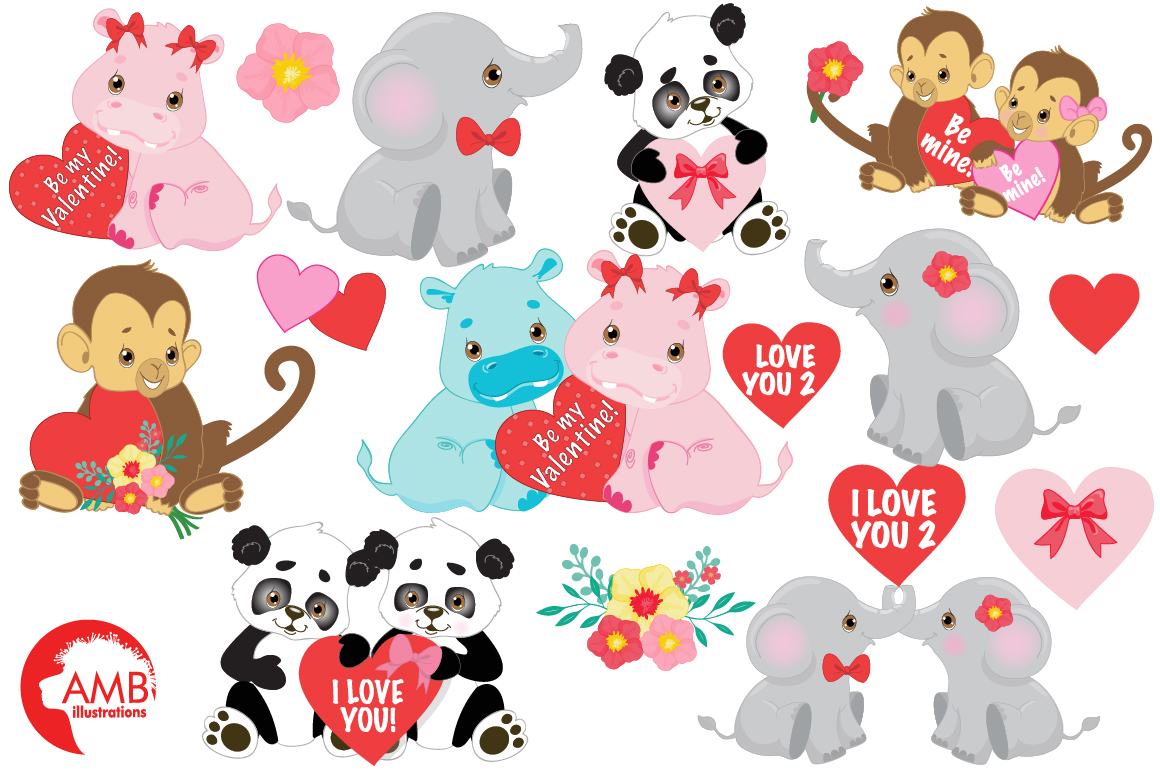 Happy Valentine clipart, Jungle animals clipart, graphics illustrations AMB-596 example image 5