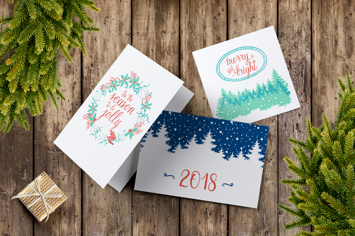 12 Holiday cards + 12 patterns example image 6