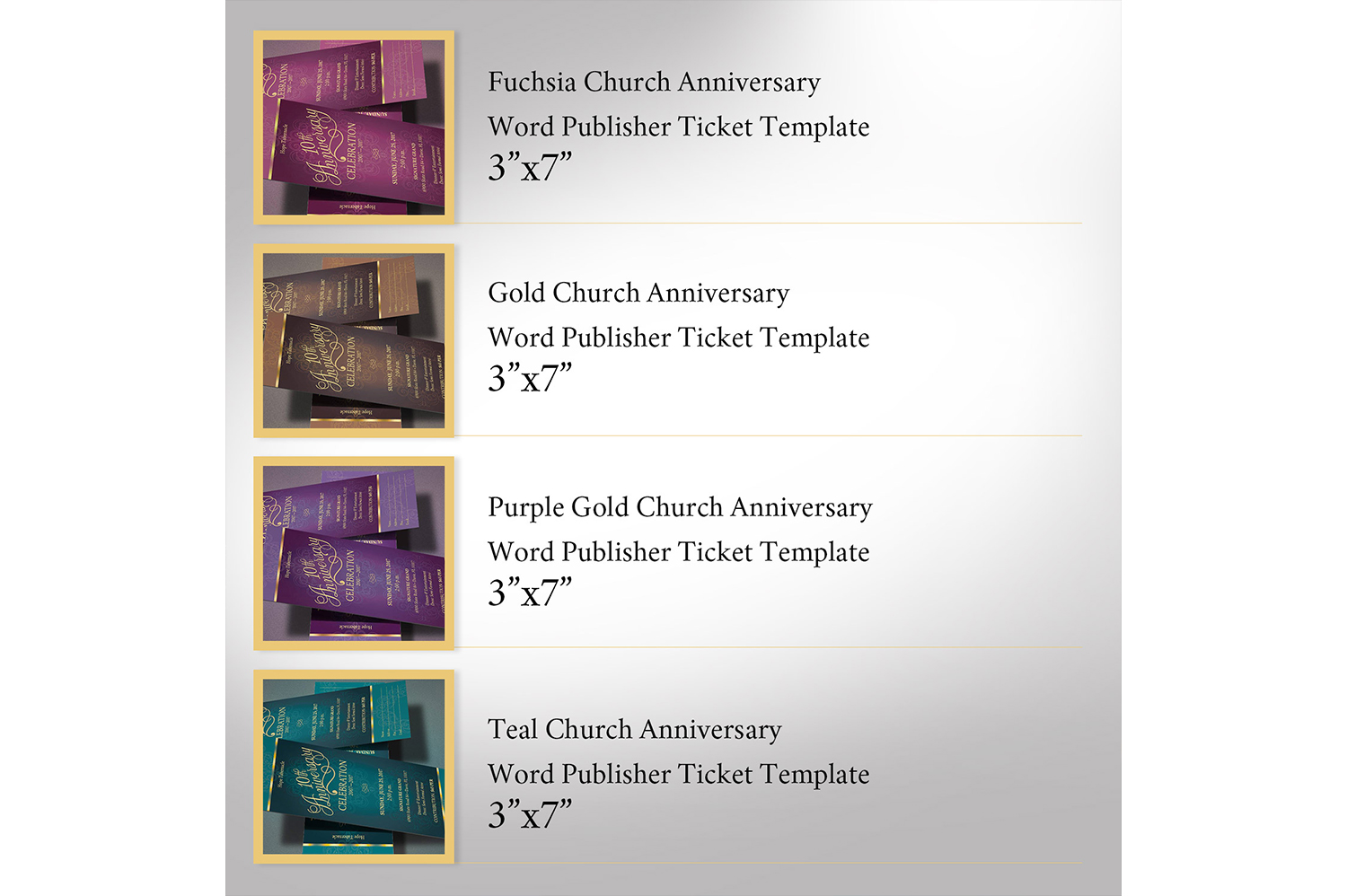 Church Anniversary Publisher Word Ticket Bundle example image 2