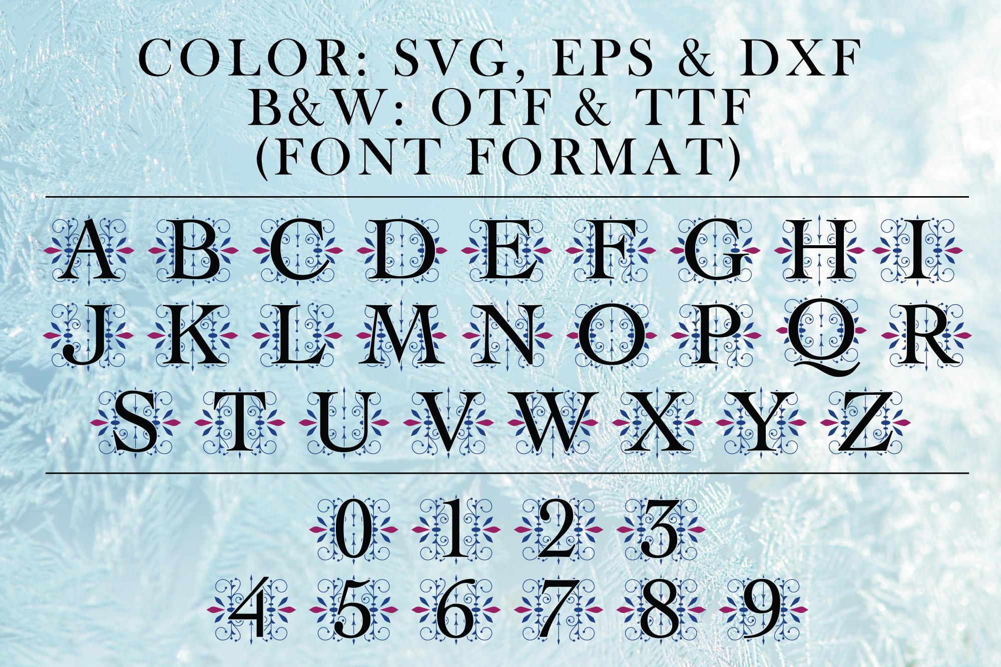 Ice Castle Vintage Monogram Cut File & Font example image 2