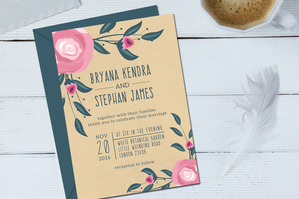 Boho Wedding Invitation & RSVP example image 2