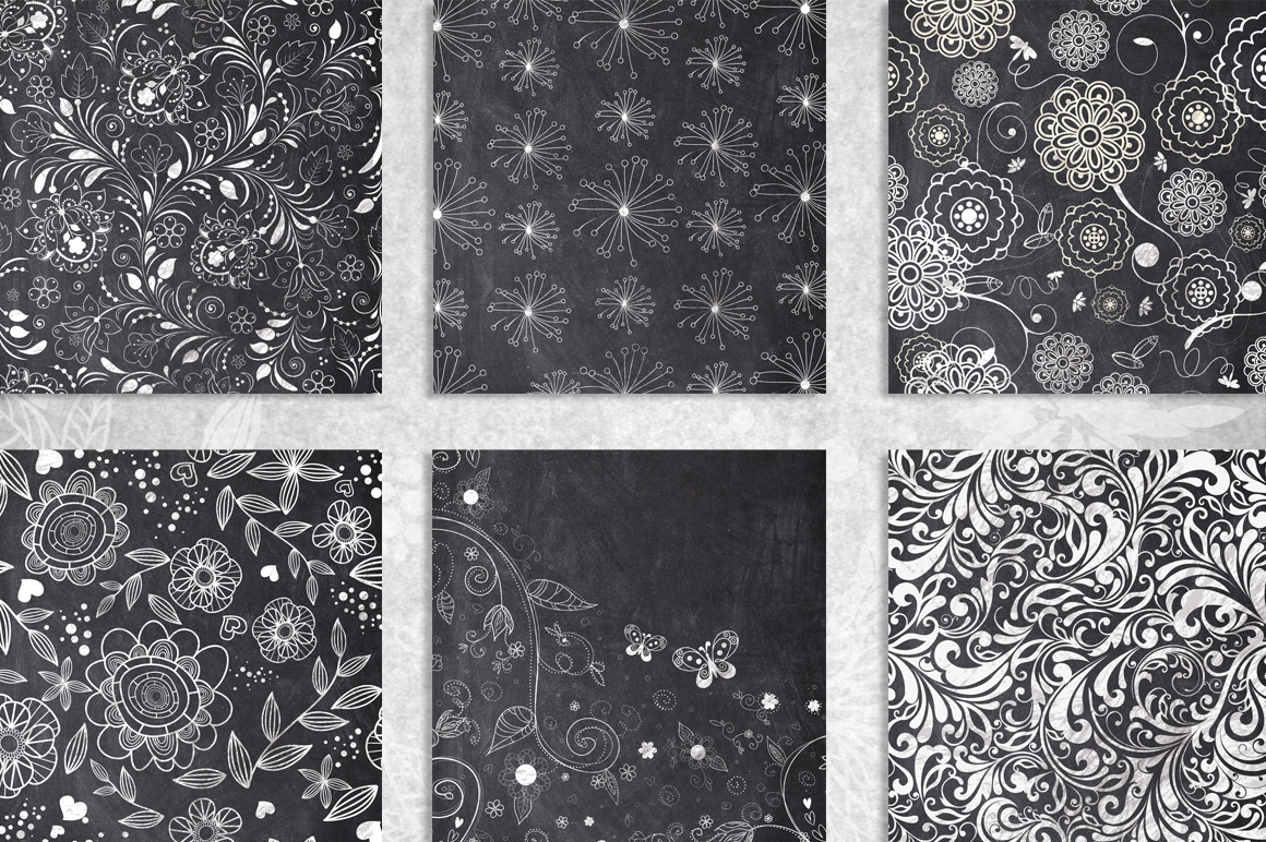 10 Chalk Floral Pattern Elements example image 4