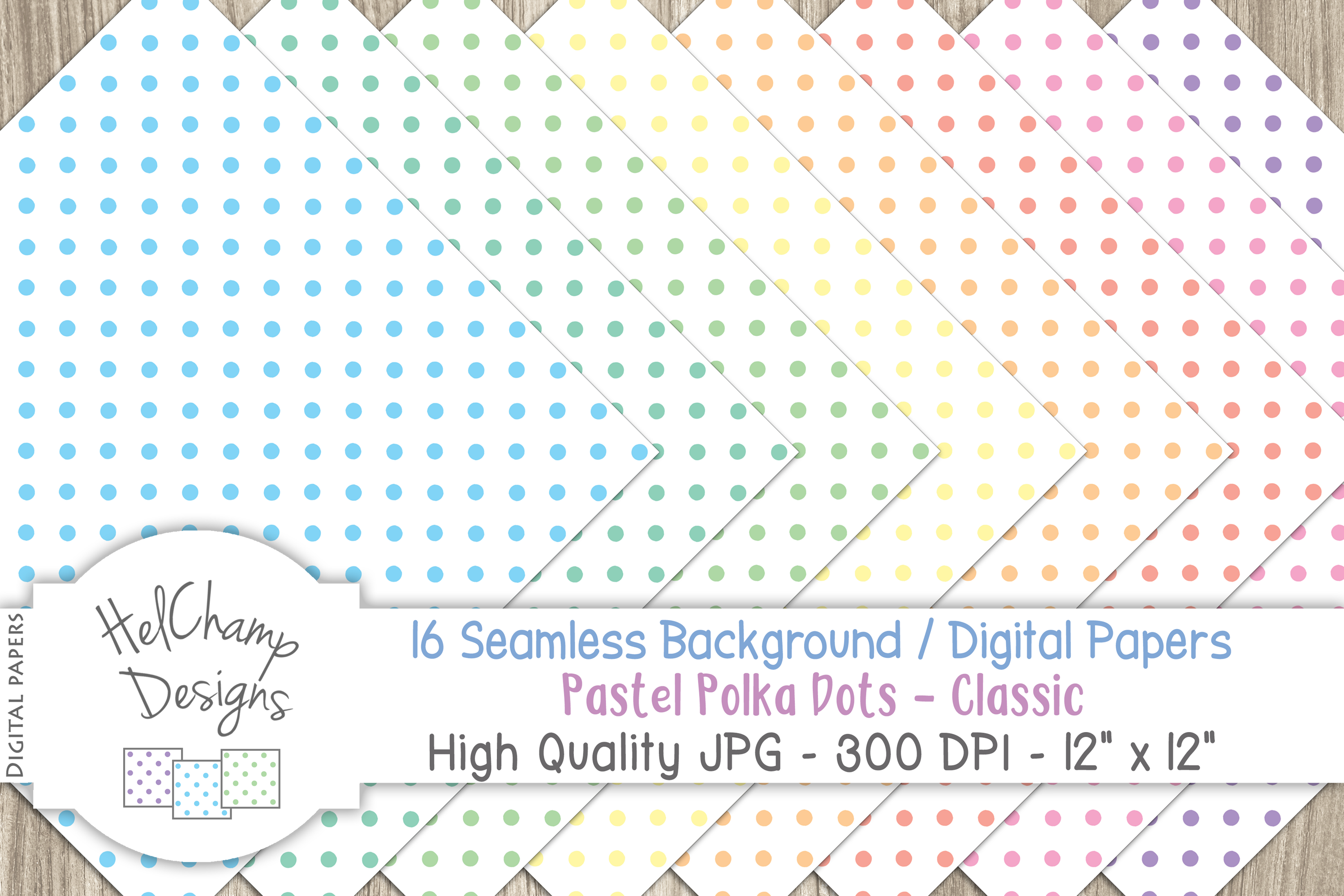 16 seamless Digital Papers Pastel Polka Dots Classic - HC010 example image 5