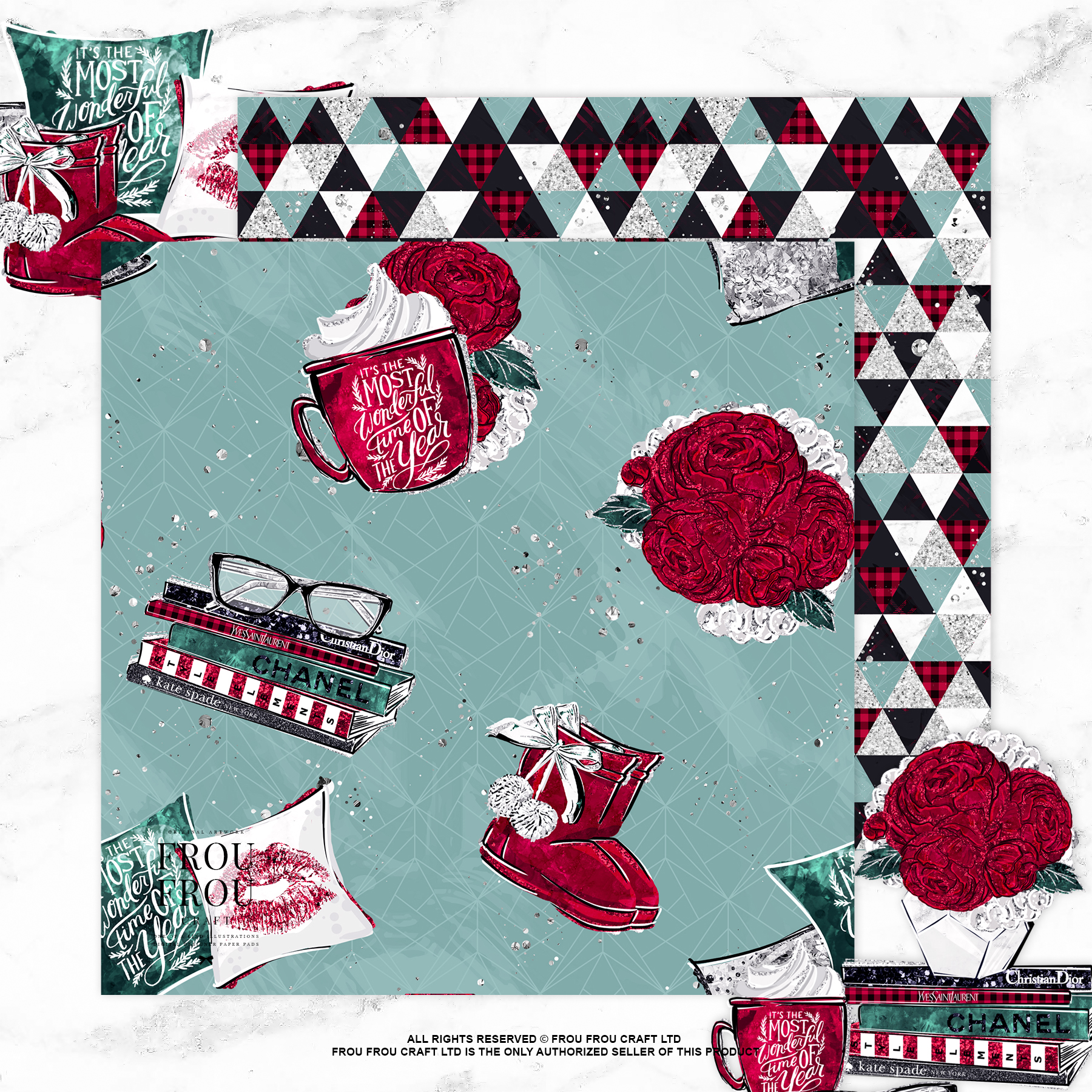 Cozy Winter Holiday Girl Reading Books Paper Pack example image 6