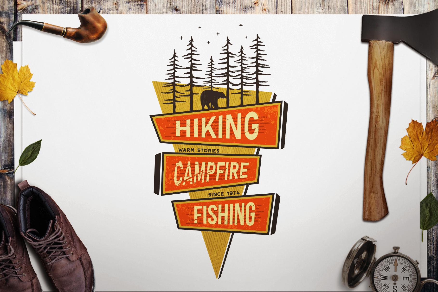 Mountains Logo, Retro Hiking Adventure Badge T-Shirt SVG Cut example image 1