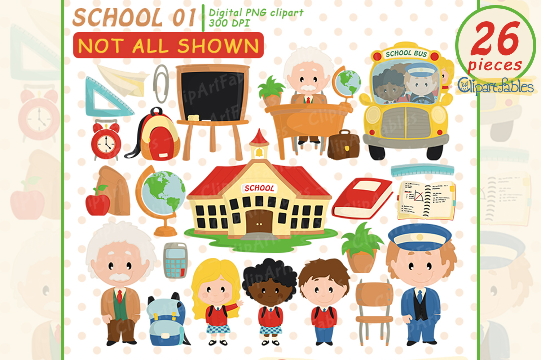 Back to School clipart, Educational Clip art, School bus art example image 1