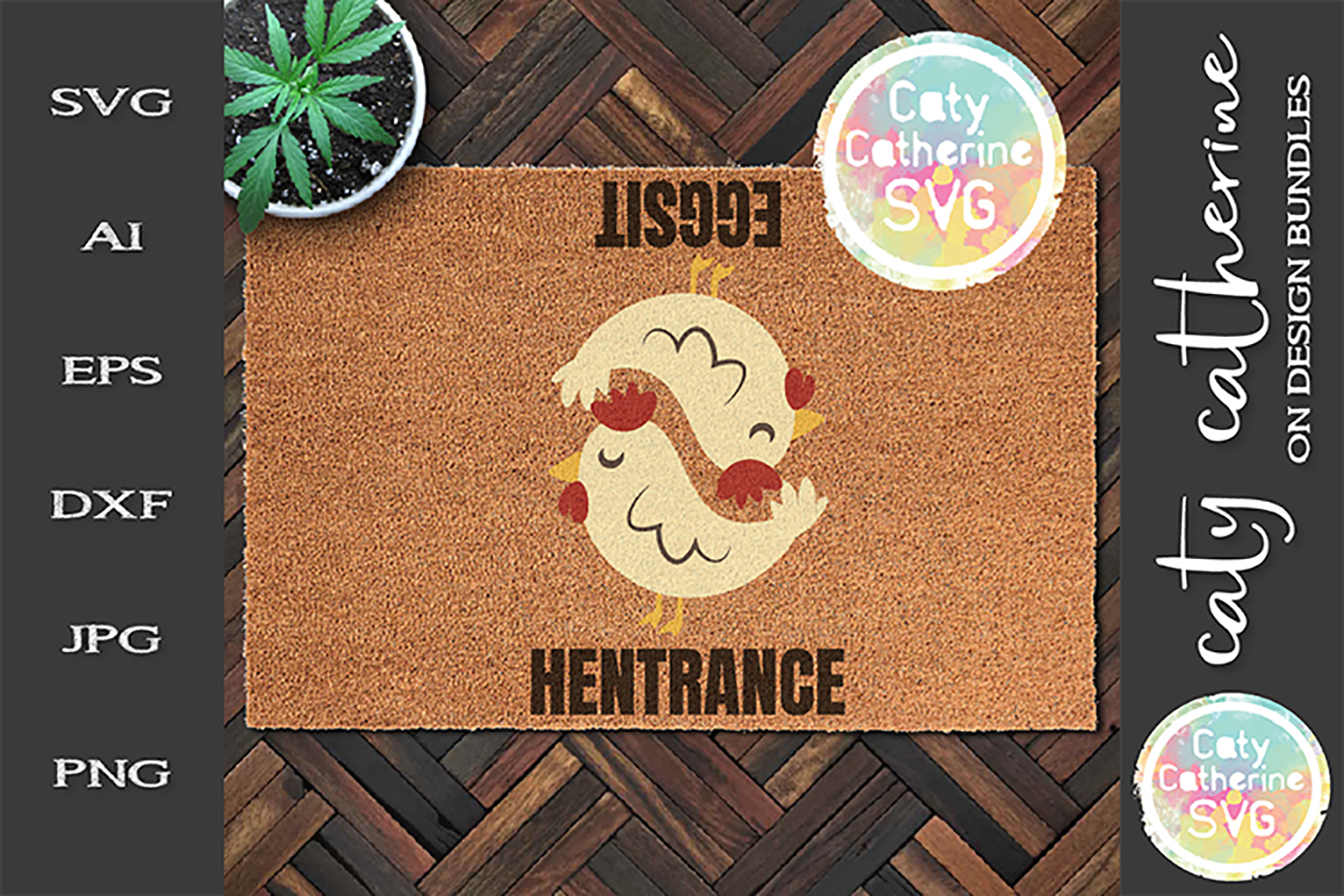 Chicken Welcome Mat Hentrance Eggsit Entrance Exit SVG example image 1
