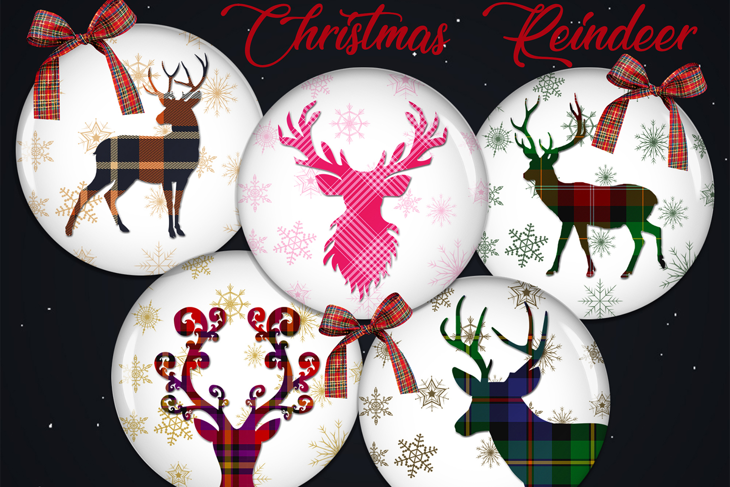 Christmas Digital Collage Sheet, Reindeer Printable Images example image 1