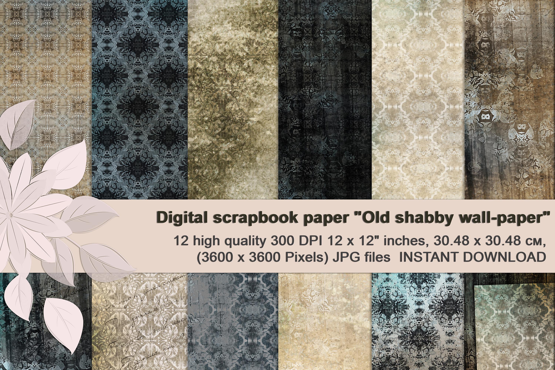 Beige-Blue Old Shabby Digital Backgrounds example image 1