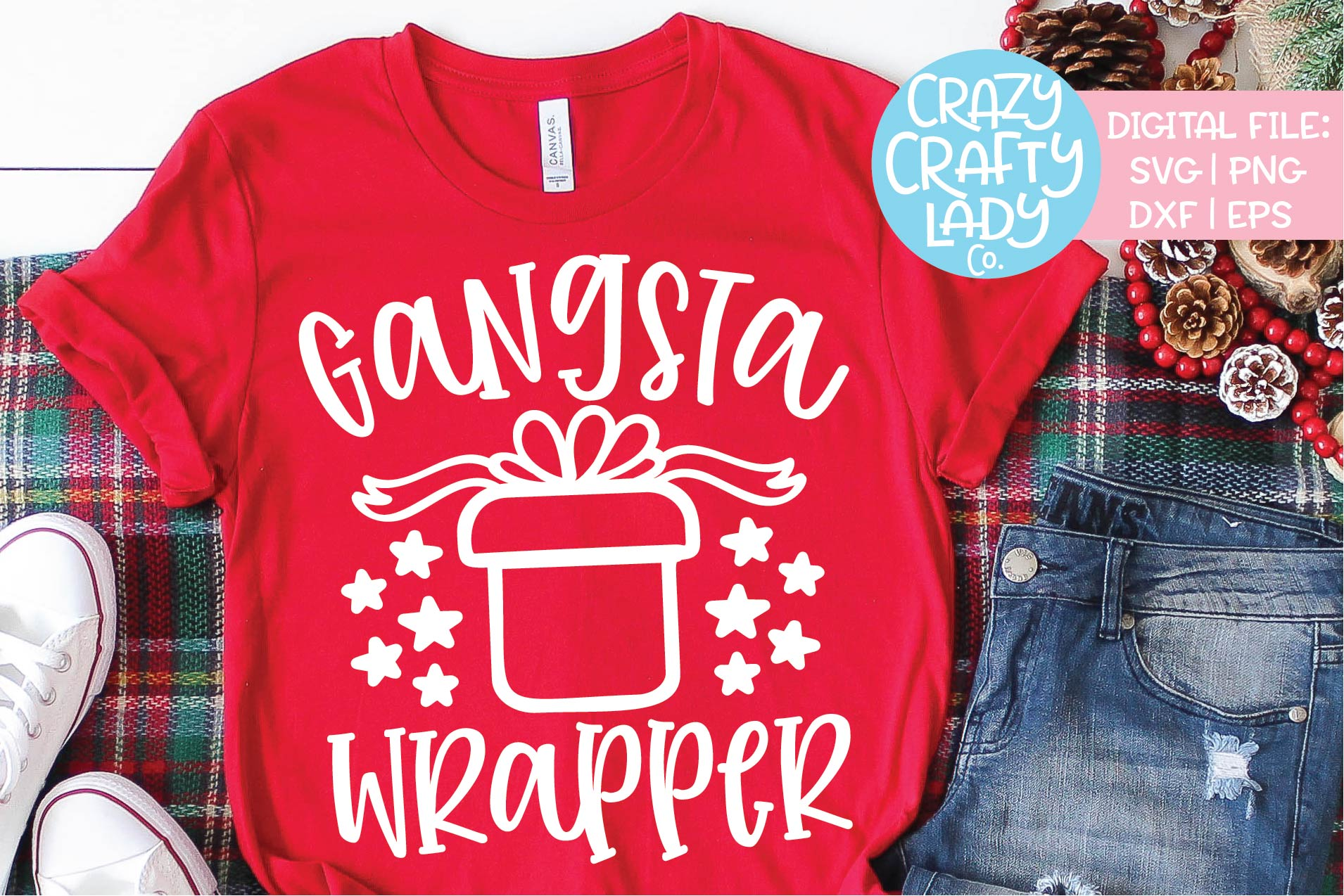 Gangsta Wrapper Christmas SVG DXF EPS PNG Cut File example image 1