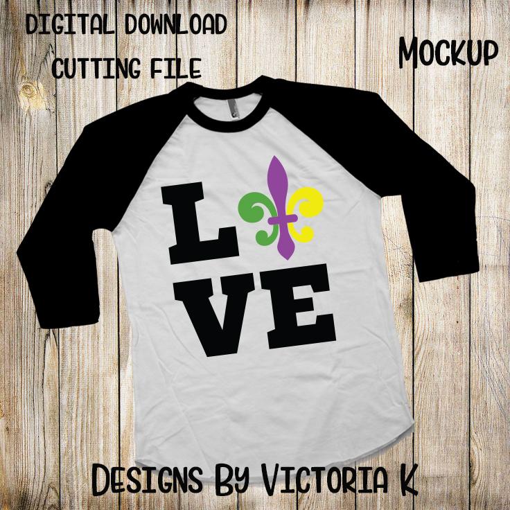 Love Mardi Gras, Fleur de lis, SVG, DXF, PNG example image 2