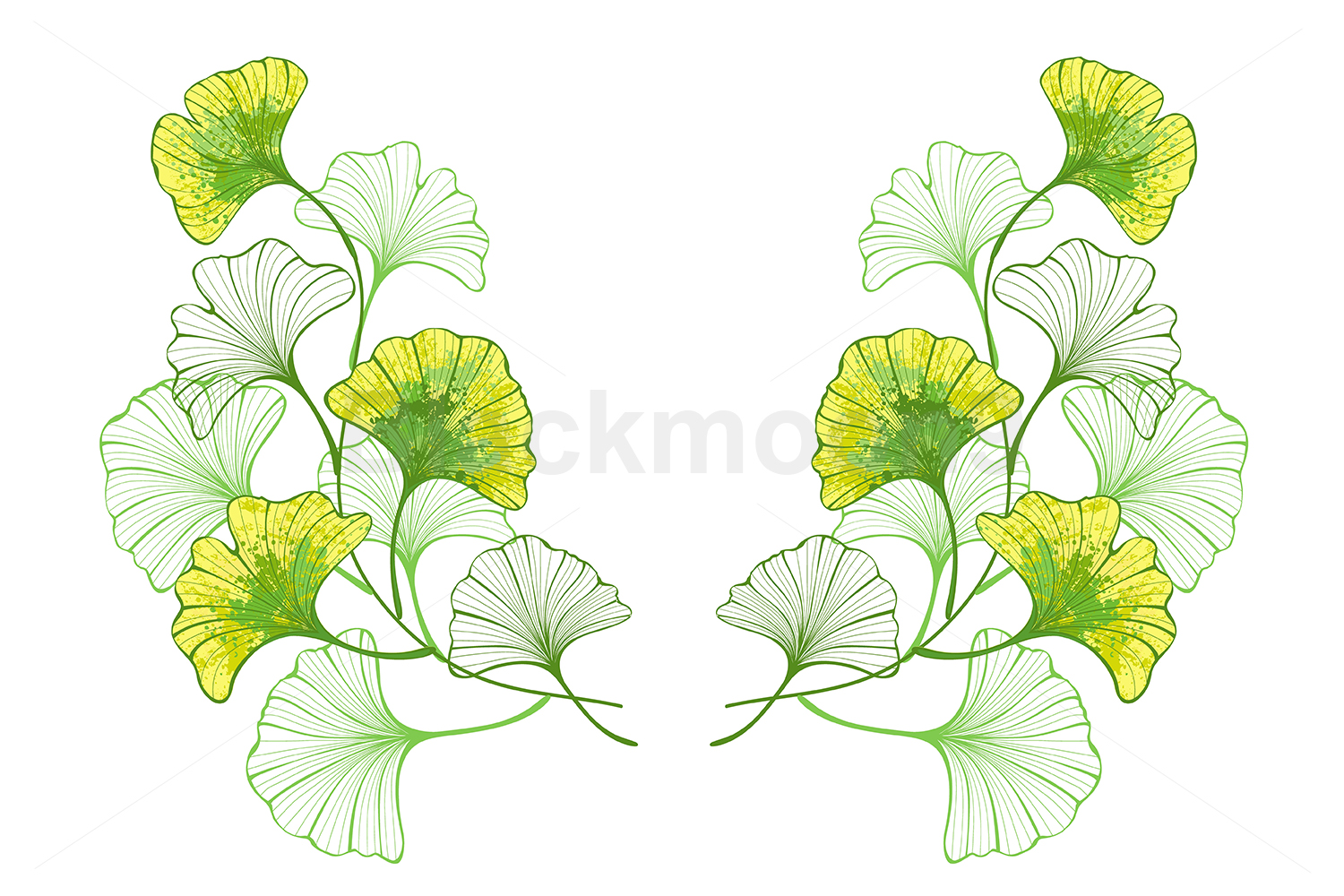 Symmetrical Pattern of Colorful Leaves of Ginko Biloba example image 1