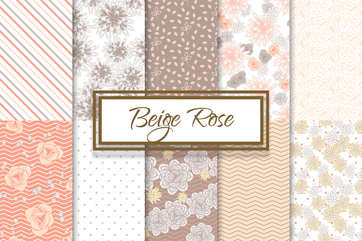 Beige Roses and Succulents patterns example image 1