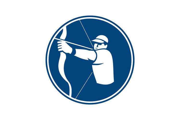 Archer Bow Arrow Circle Icon example image 1