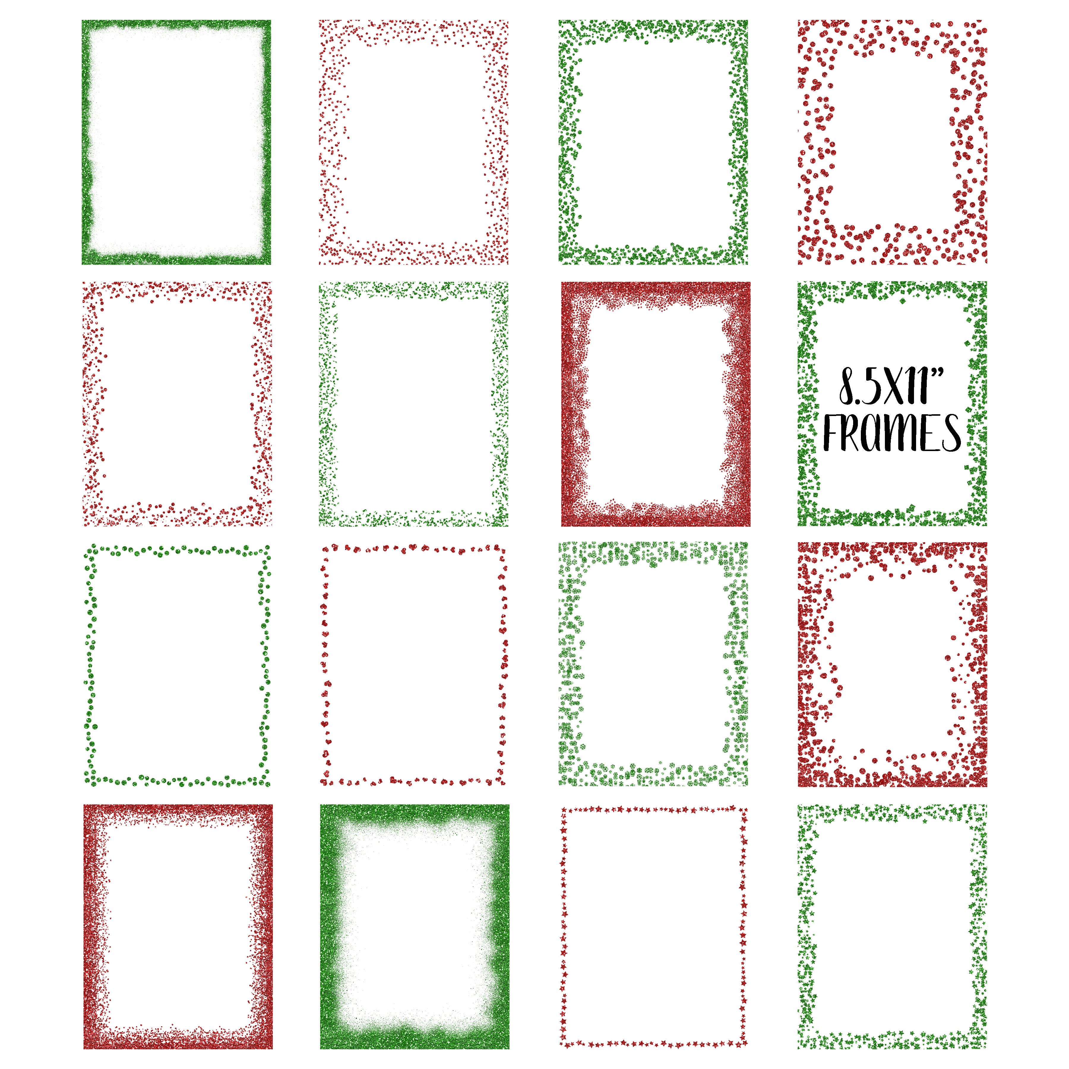 Christmas Glitter Frames and Borders PNG Clipart Bundle example image 4
