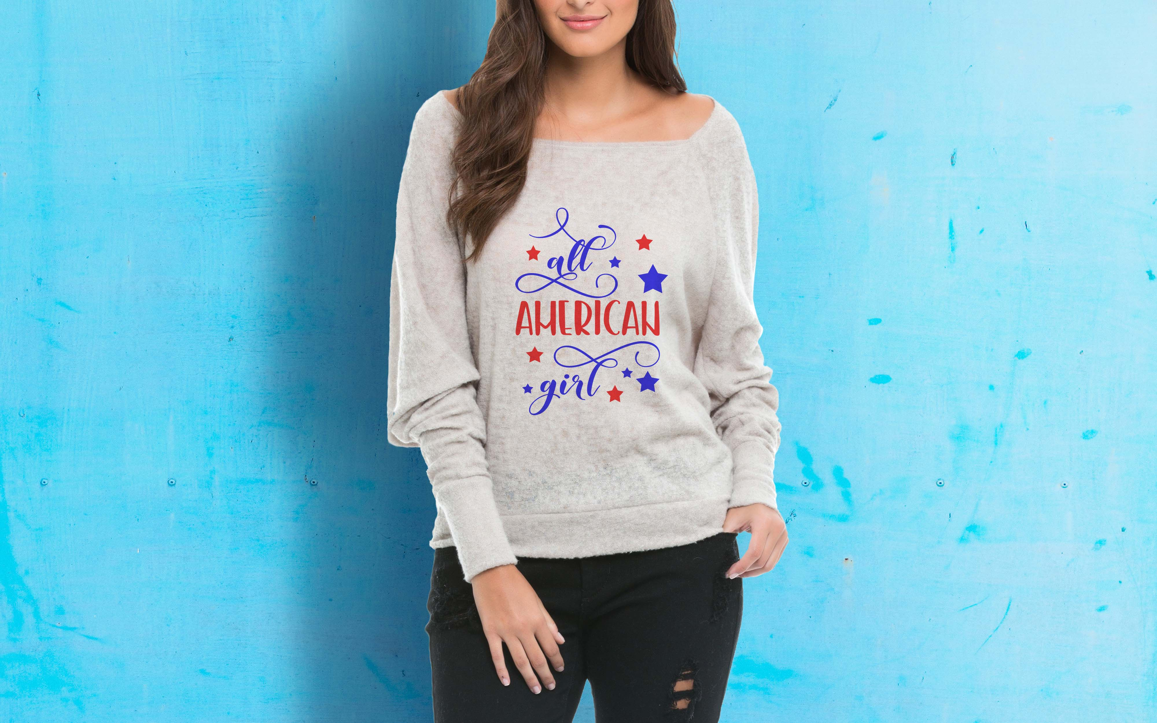 All American girl SVG PNG EPS DXF, Stars svg design example image 2