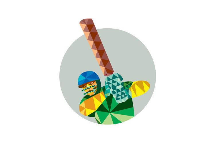 Cricket Player Batsman Batting Low Polygon example image 1