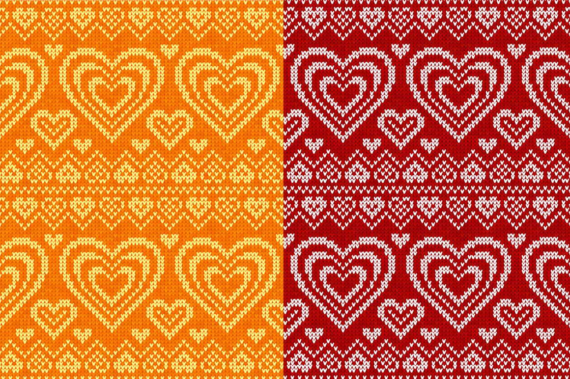 10 knitted hearts seamless patterns example image 2