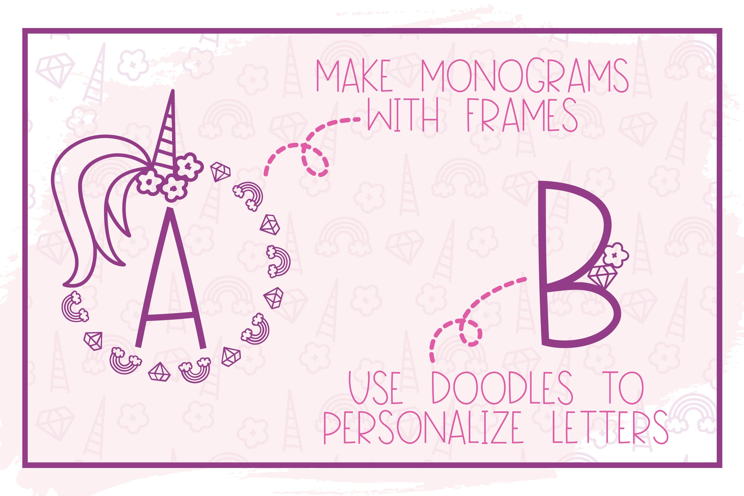 Pink Unicorn - A Magical Monogram Font example image 4