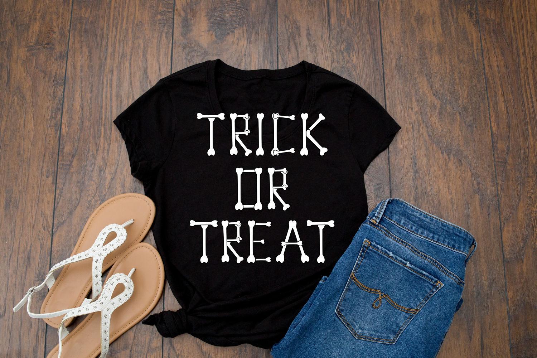 Trick or Treat Halloween Skeleton Bones SVG Design example image 2