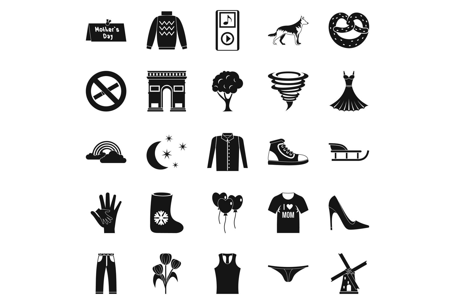 Walking clothes icons set, simple style example image 1
